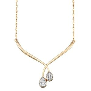 14k Gold Over Silver 1/10 Carat Diamond Necklace